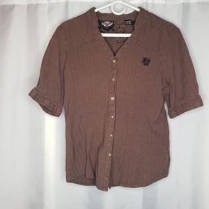 Harley Davidson brown button up short sleeve top